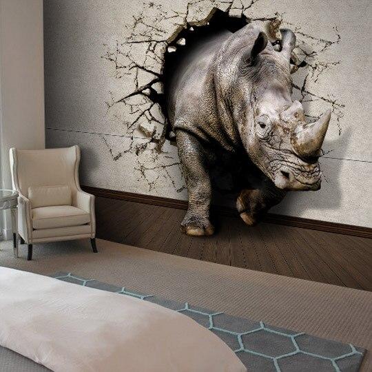 Driedimensionale 3d rhino behang vintage mode