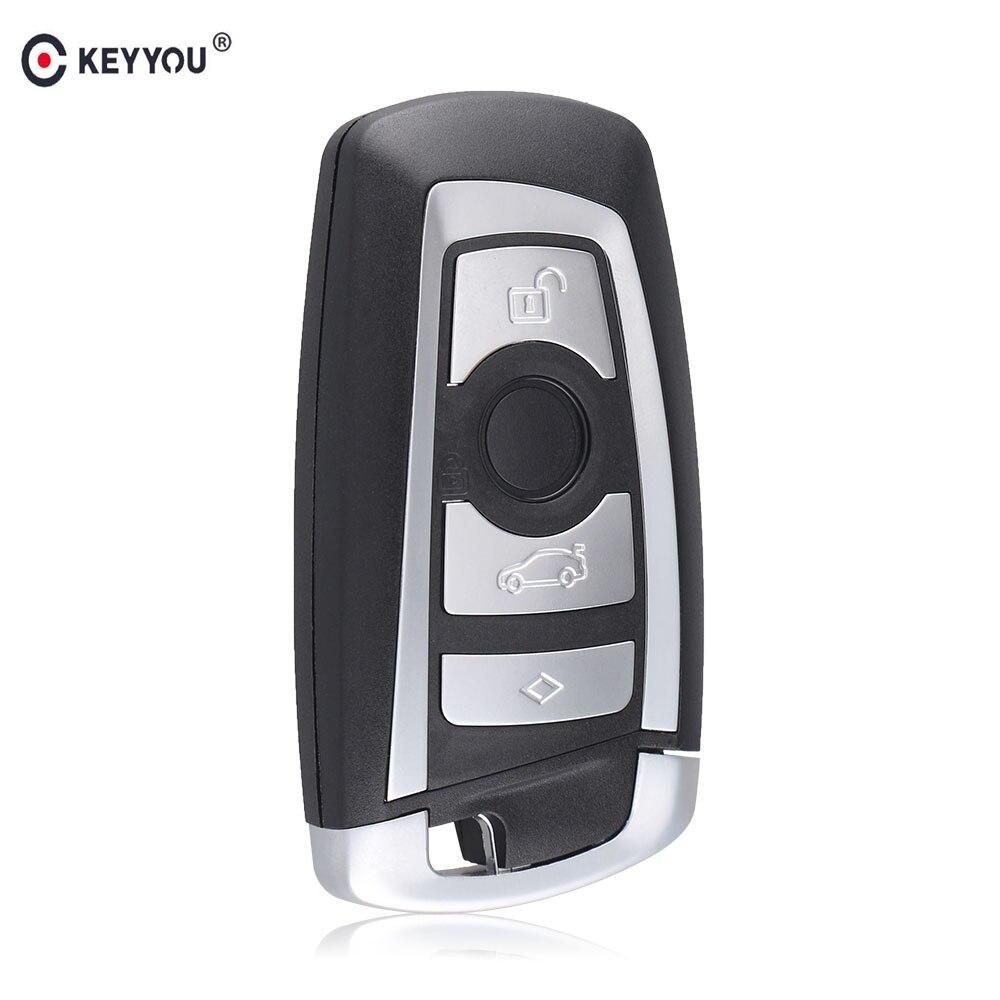 KEYYOU 10 pcs/lot 4 boutons clé intelligente à distance clé de voiture Shell pour BMW F CAS4 5 série 7 série 'etui de clé intelligente couverture