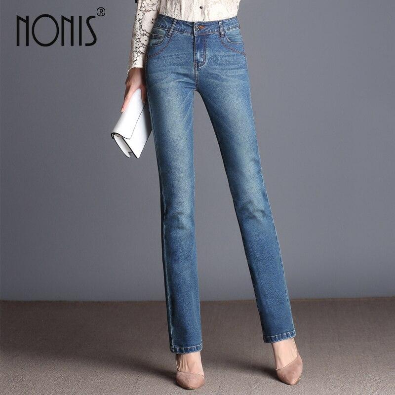 Nonis Autumn Winter   Jeans   Femme Slim Straight High Waist Cotton Plus Size Denim   Jeans   Women full length Pants Boyfriend   Jeans