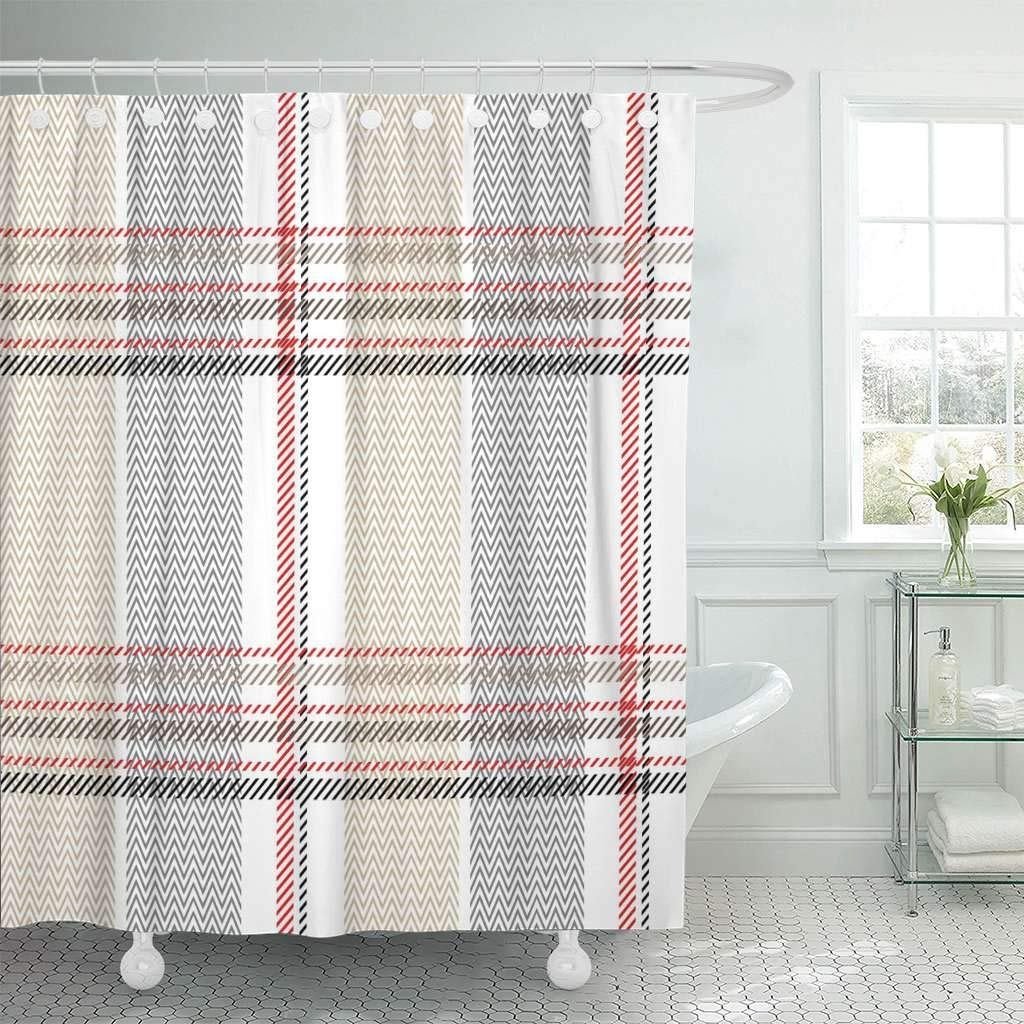 Us 17 06 36 Off Shower Curtain With Hooks Red Grey Checkered Plaid Pattern With Stripes And Zig Zag Retro Collection White Beige Bathroom In Shower