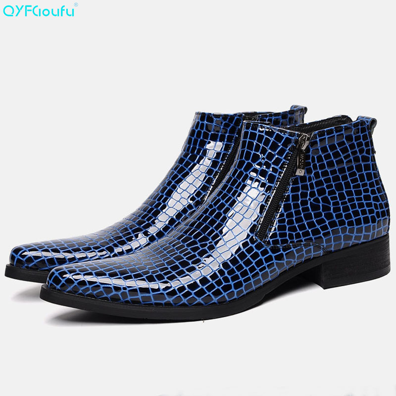 QYFCIOUFU Patent Leather Mens Boots Genuine Leather Quality Cow Leather Men Dress Boots Shoes Zipper Snake Pattern Ankle BootsQYFCIOUFU Patent Leather Mens Boots Genuine Leather Quality Cow Leather Men Dress Boots Shoes Zipper Snake Pattern Ankle Boots