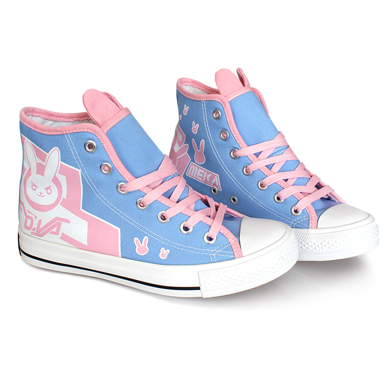 2019 Fashion New <font><b>D.va</b></font> Cosplay Canvas <font><b>Shoes</b></font> Platforms Lace Up High top Casual <font><b>Shoes</b></font> for Women Girls Student Flats Size 36-39 image