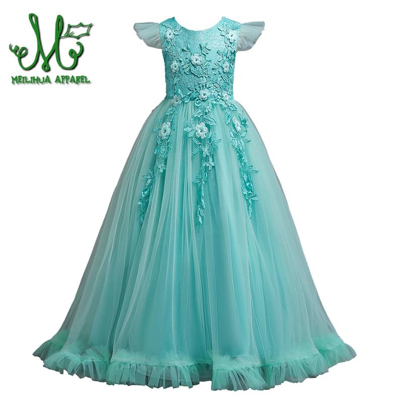 Nursery School Little Girls Wedding Flower Dress Tube Shirts Princess Dress Party Formal Dress for Small Girl