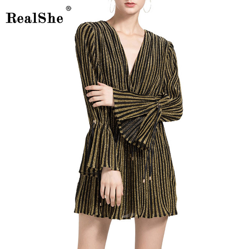RealShe Stripped Ruffles Women Jumpsuits Romper V Neck Long Sleeve Summer 2018 Casual Cute Knot Overall Party Short Playsuit