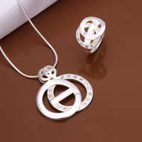 925 Sterling Silver Jewelry Necklace Ring For Girl 2014 Fashion Crystal Rhinestone Shinning Round Shape Pendant