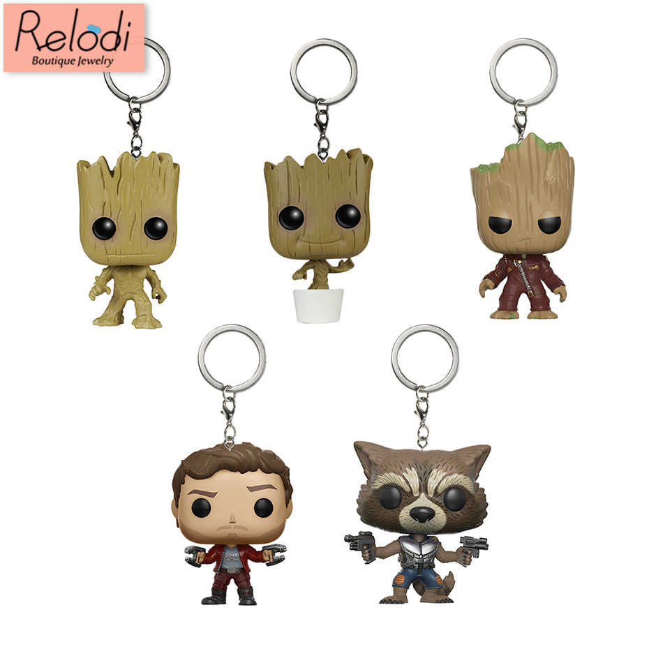 Corrente Chave bonito Marvel Guardians Of the Galaxy Foguete Groot Keychain Fob Chave Star-Lord Protector Bag Pingente SP1628
