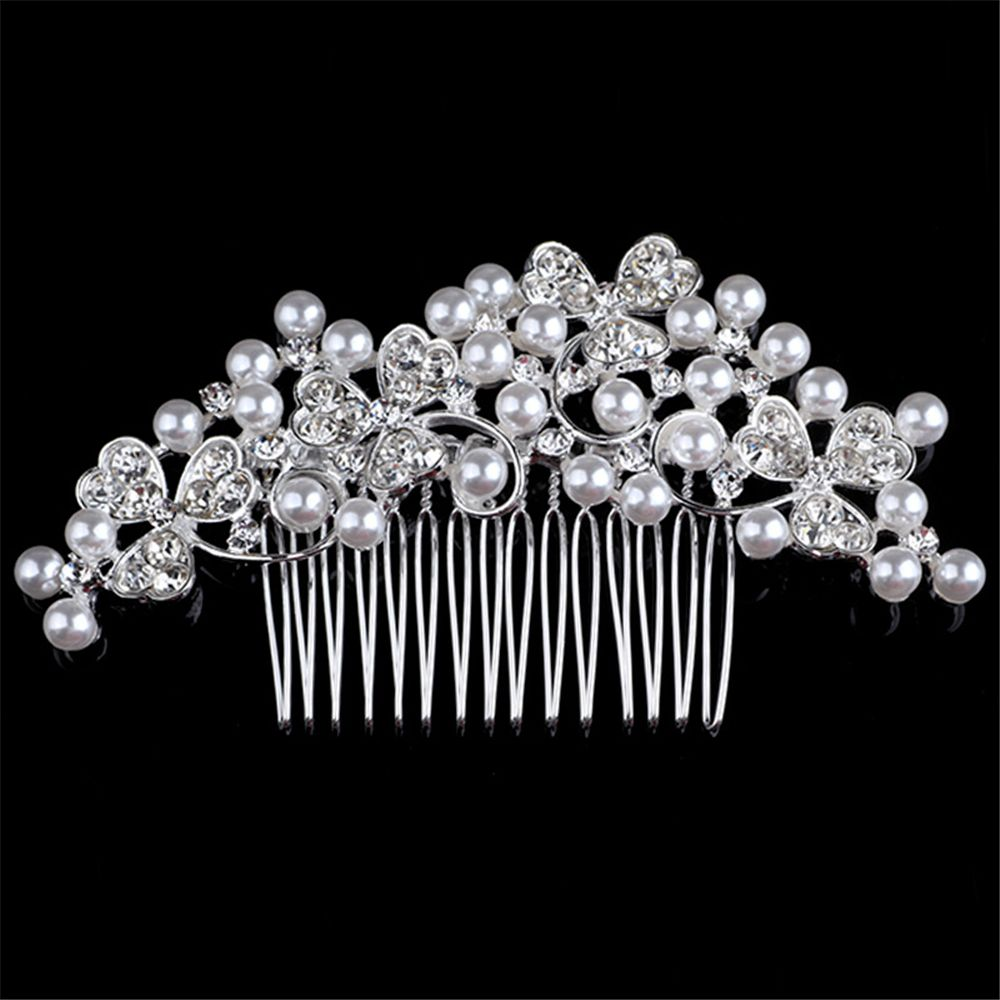Elegant Hair Accessories Girls Crystal Rhinestone Crown Pearl Baby Hair Clip