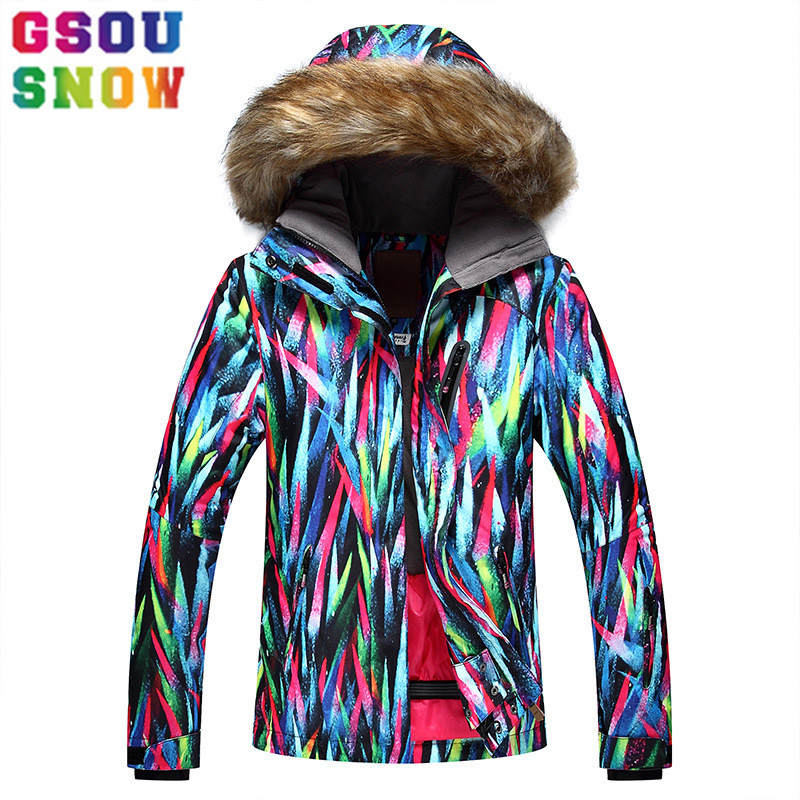 GSOU SNOW Brand Ski Jacket Women Snowboard Jacket Fur Hooded Winter Waterproof Cheap Ski Suit Outdoor Camping Female Coat 2017 hot sale women ladies snowboard jacket waterproof breathable ski jacket female winter snow coat sport motorcycle anorak clothes