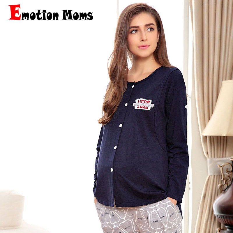 Emotion Moms Maternity Clothes Long sleeve Breastfeeding Sleepwear Nursing Pajamas for Pregnant Women Maternity Pajamas set цена