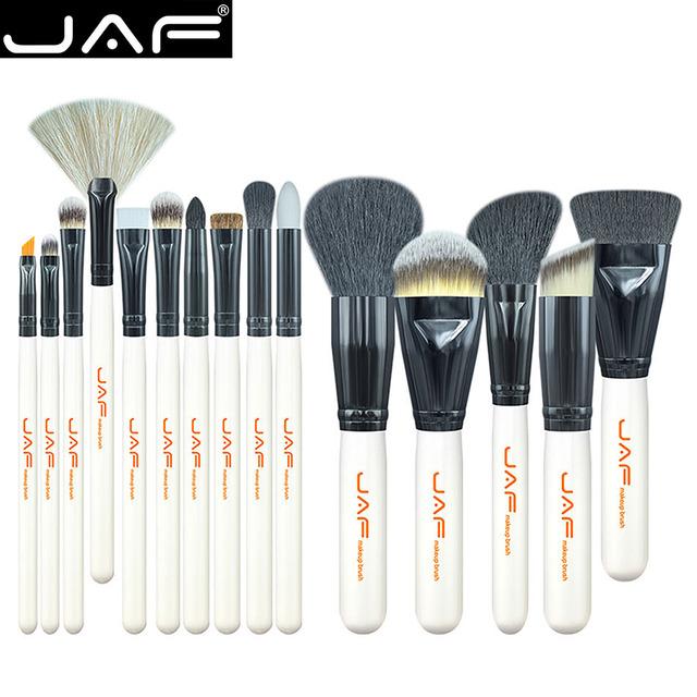 Jaf marca 15 unids j1501m-w belleza de cepillo del maquillaje profesional de maquillaje blush fundación contour powder brush cosméticos de maquillaje
