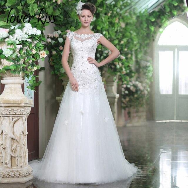 Lover Kiss Vestidos de Noiva Women Modest Garden Wedding Dresses ...