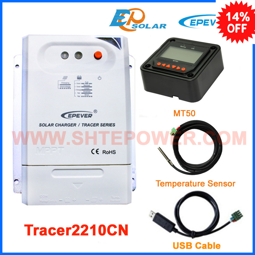 Max PV input 100v MPPT EPEVER Solar Controller Tracer2210CN 20A 20amp with USB cable and temperature sensor+MT50 meter epever mppt tracer2210cn 20a 20amp solar panel system controller with wifi box regulator usb cable mt50 remote meter