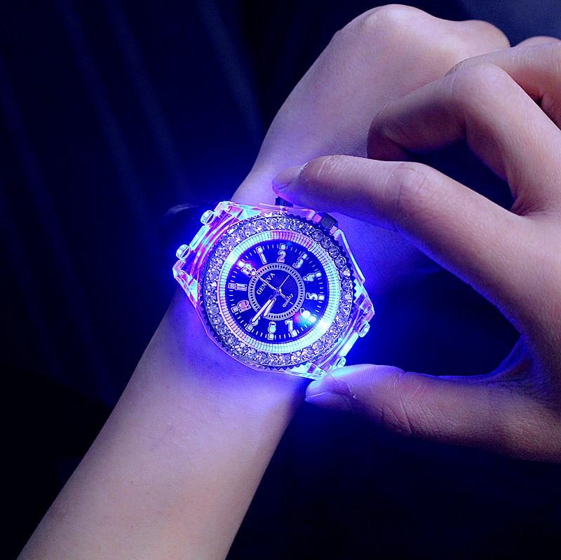 2017 Geneva Luminous LED Sport Watches Women Quartz Watch ladies Women Silicone Wristwatches Relogio Feminino Relojes Mujer