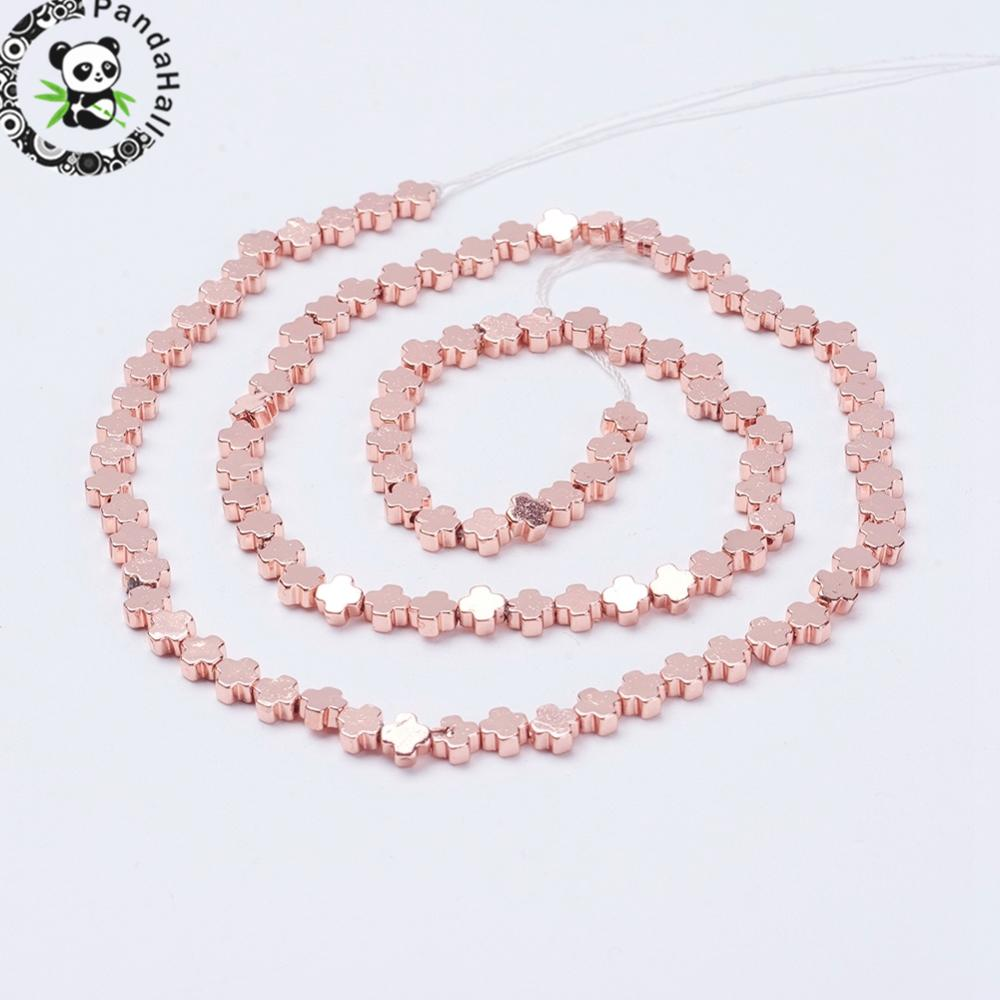 3 Strands Electroplate Non-Magnetic Synthetic Hematite Beads Strands, Greek Cross, Rose Gold Color