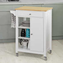 SoBuy FKW46-WN Wooden Kitchen Trolley Serving Storage Cart with drawer