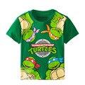 2016 primavera y el verano niño de dibujos animados niño 3 7Y niños bebé de la princesa de manga corta T-shirt camisa de la tortuga de la camiseta superior