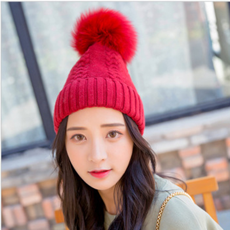 Hat Female Autumn Winter Caps Hats For Women Girls Pom Pom Cap Solid Color Casual Caps Skullies Beanies Bonnet Femme Feminino fine three dimensional five star embroidery hat for women girls men boys knitted hats female autumn winter beanies skullies caps