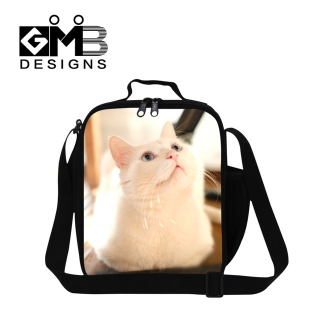 Cute Cat 3D print lunch box bag for girls,insulated cool lunch bag for kids,womens stylish lunch conainer with straps cooler bag