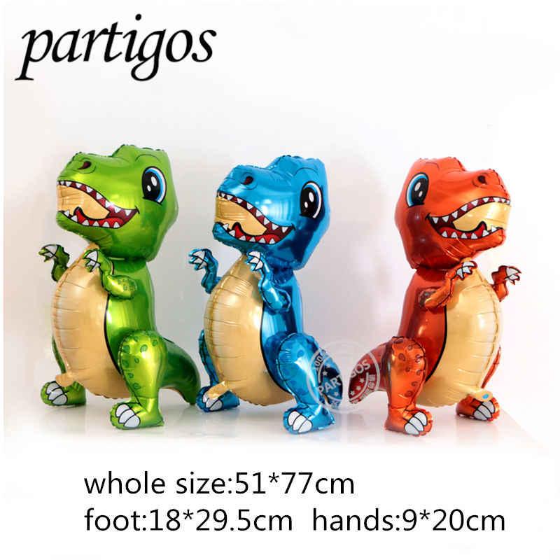 1pcs 4Dไดโนเสาร์บอลลูนฟอยล์ยืนไดโนเสาร์สีเขียวสีแดงมังกรวันเกิดDecoอุปกรณ์เด็กของเล่นฮีเลียมglobals