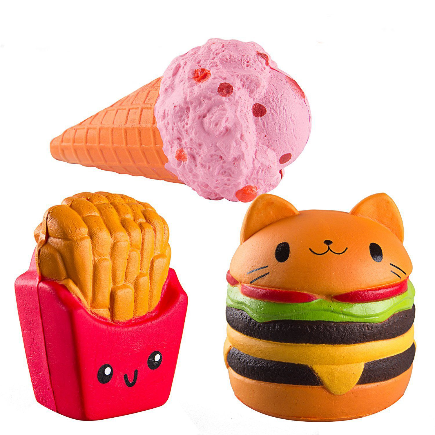 FBIL-Kawaii Jumbo hamburger fries set Squishy Slow Rising Sweet Scented Vent Charms Kid Toy Hand Toy, Stress Relief Toy jumbo squishy cute glasses bear scented charm super slow rising squeeze toy