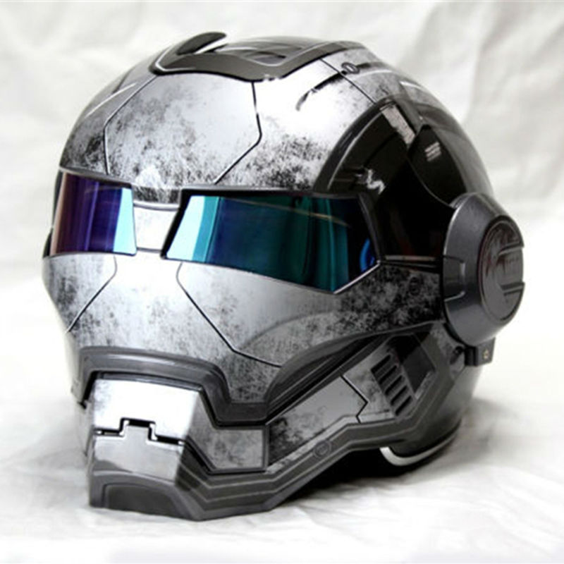 NEW Gray MASEI IRONMAN Iron Man helmet motorcycle helmet retro half helmet open face helmet 610 ABS casque motocross недорого