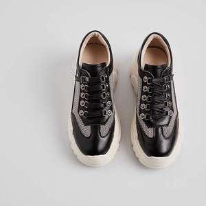 Image 4 - Mesh ventilado Lenkisen estilo punk couro genuíno alta plataforma inferior projeto fivela dedo do pé redondo tênis vulcanizados sapatos L73