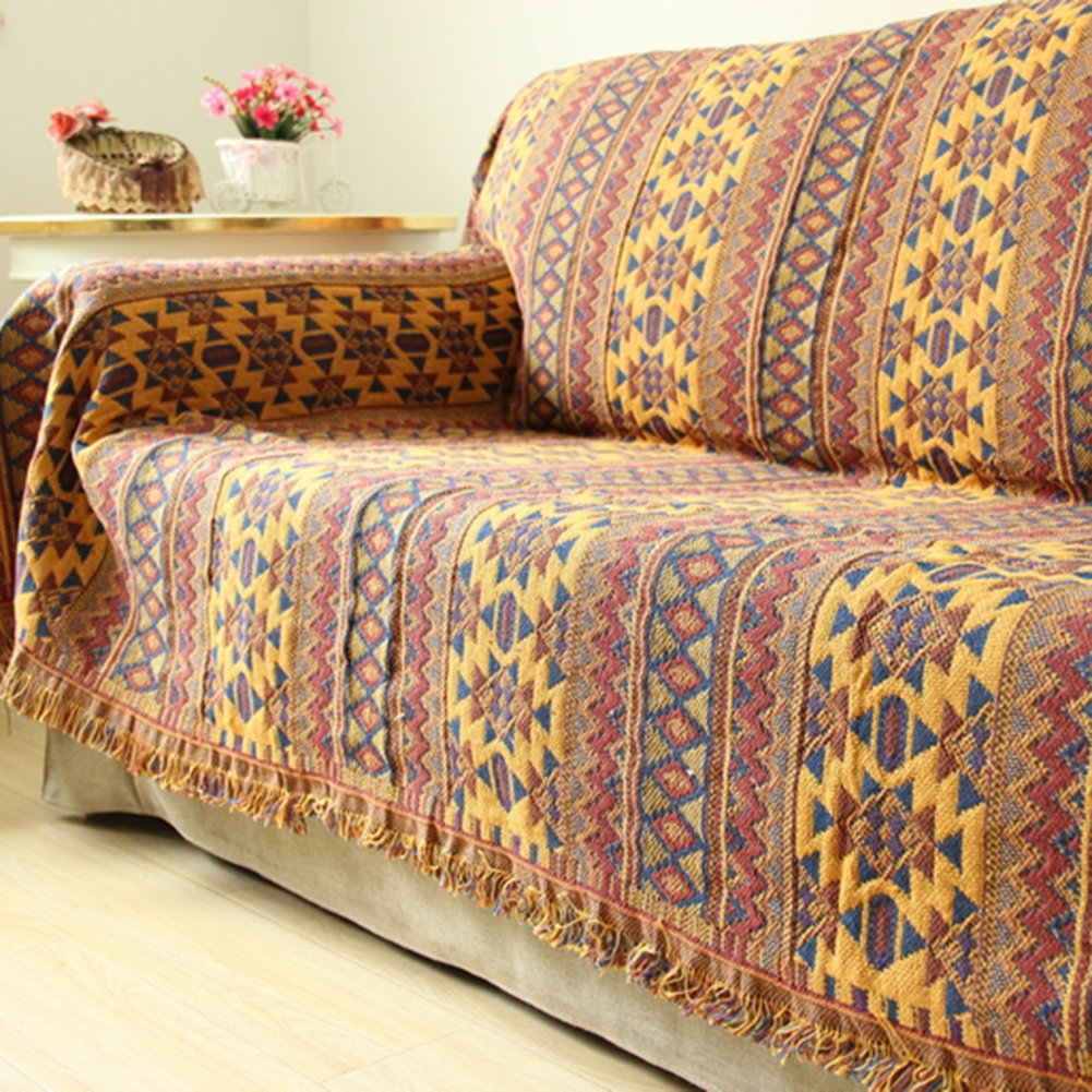 Blanket Rectangular Towel For Couch Polyester Slipcover Throw Plaid Woven Cotton