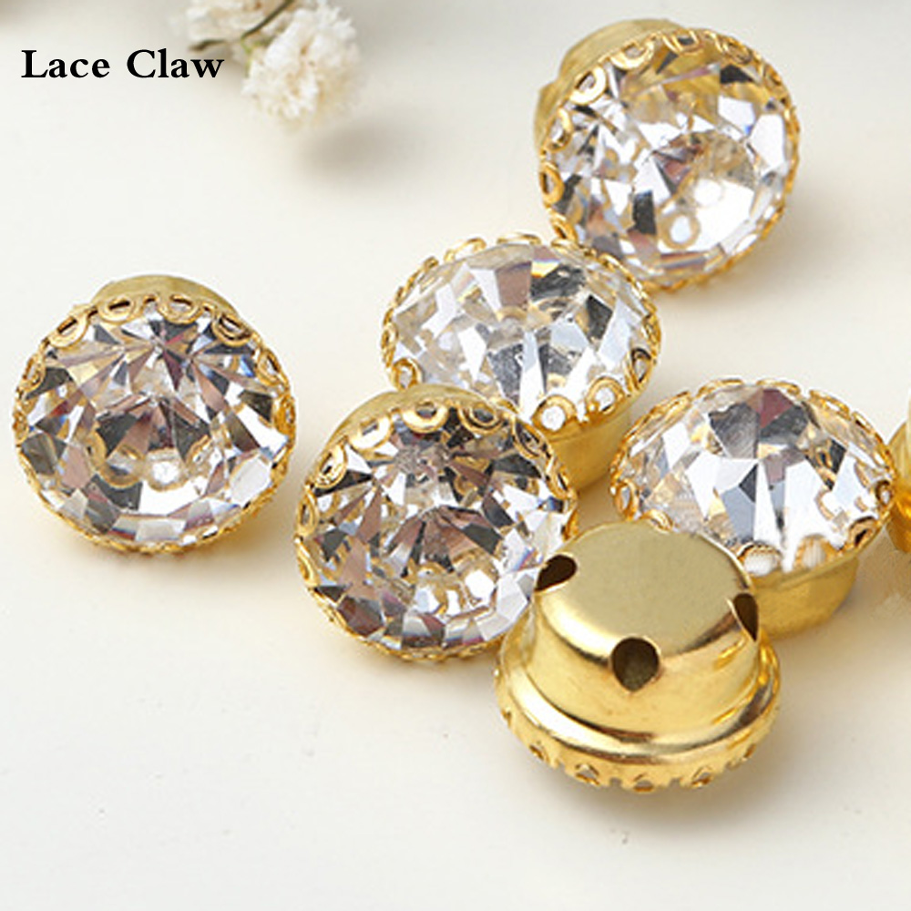 Lace Claw Rhinestones Ss30 Glass Crystals Strass Sewing Rhinestones Dress Decorations Stones Sew On Cup Rhinestones For Clothes