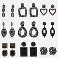 Оптовая продажа, модные черные висячие серьги JUJIA с кристаллами для женщин, элегантные свадебные длинные висячие серьги, новый дизайн, богем...
