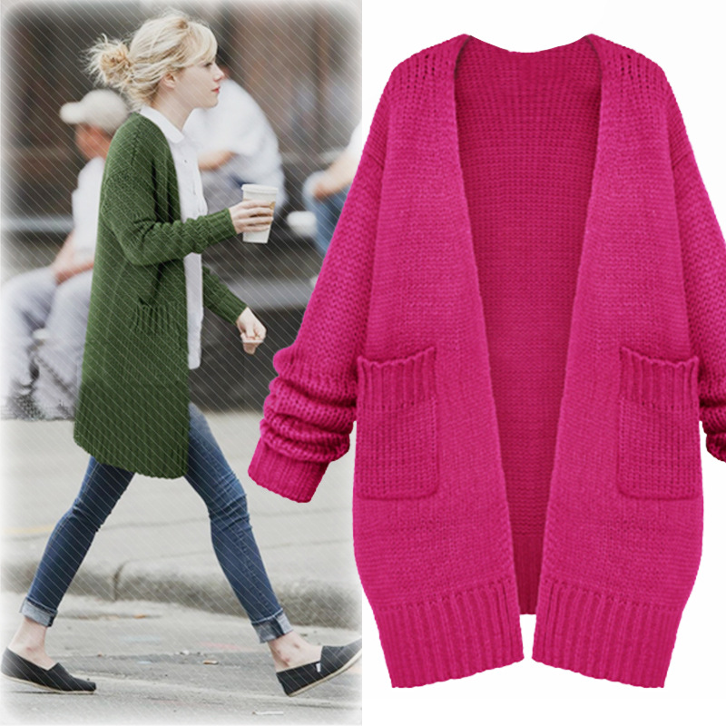 Plus Size Casual Women Sweaters 2018 Autumn Winter Fashion Loose Knitting  Cardigans Long Sweaters Female Outwear Big Size 80bccb8dc