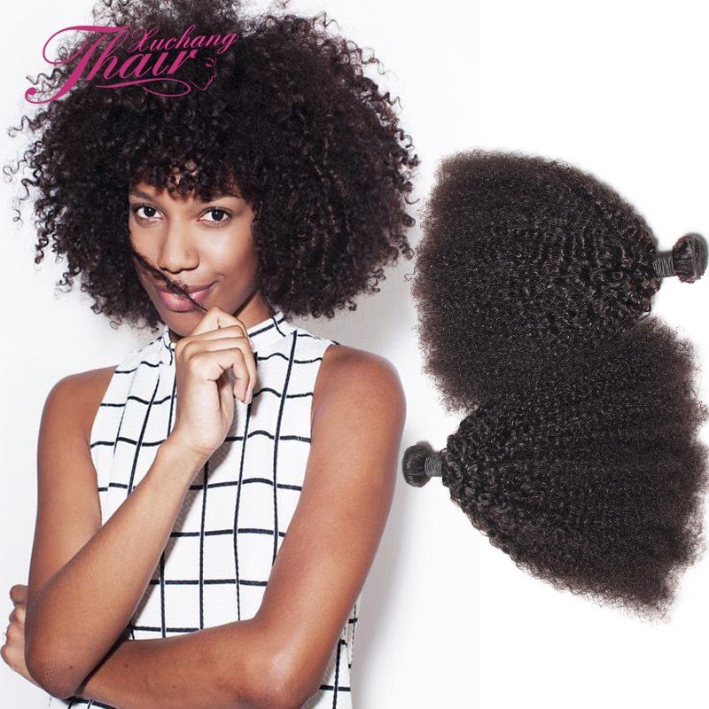 8A Mongolian Kinky Curly Hair 1piece/lot Afro Virgin In Stock T Products Human Weaves Natural Black