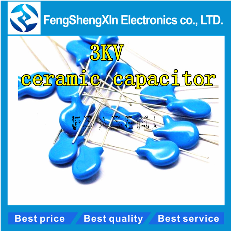 20pcs/lot 3KV High voltage Ceramic <font><b>Capacitor</b></font> 5PF 10PF 15PF 20PF 22PF 27PF 30PF 47PF 56PF 100PF <font><b>220PF</b></font> 1NF 2.2NF 3.3NF 4.7NF 10NF image