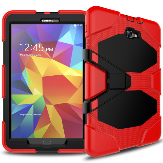 Heavy Duty case For Samsung Galaxy Tab A 10.1 2016 T585 T580 Tablet case Soft Silicone +PC Back Cover Kickstand Case tire style tough rugged dual layer hybrid hard kickstand duty armor case for samsung galaxy tab a 10 1 2016 t580 tablet cover