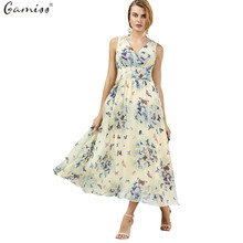 d28bd22bc9c4 Gamiss Summer Women Bohemian Style Butterfly Print Flowing Sleeveless Maxi  Dresses
