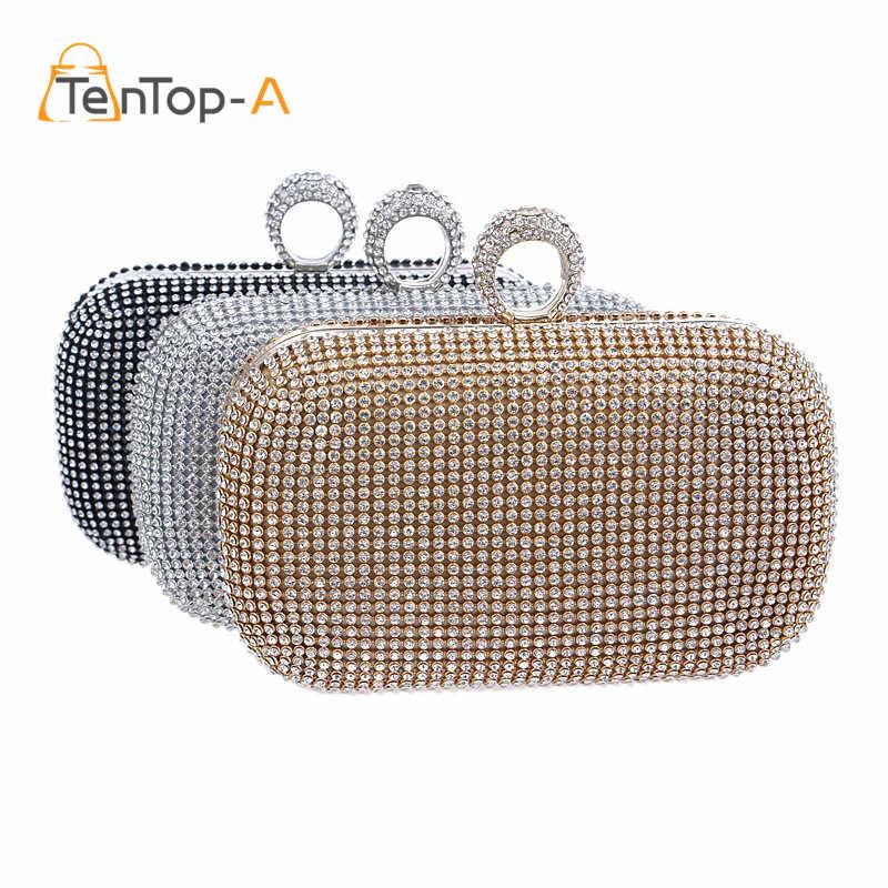 9af2a9d2ee9f 2017 бриллиантами вечерние клатчи сумки два боковых Алмаз сумочка со  стразами для торжеств день клатчи женский