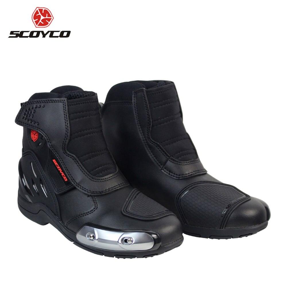 SCOYCO Motorrad Reiten Stiefel Mikrofaser Leder Motocross Off-Road Racing Stiefeletten Straße Reiten Schuhe Schutz Getriebe