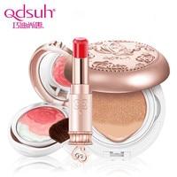 Qdsuh 3 stks/partij Vlinder Liefde Rose Blush Poeder CC Crème Lippenstift Foundation Make Palet Blusher Highlighter Concealer