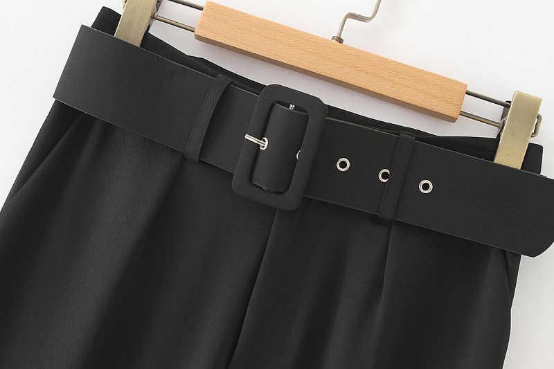 Vadim delle donne eleganti pantaloni neri telai tasche con cerniera solido delle signore streetwear casual chic pantaloni pantalones KA152