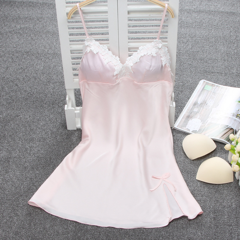 Sexy Summer Women Lingerie Nightgown Ladies Casual Sleepwear Nightdress Femininos Nightie Lace Neck Bath Robe Gown With Bra