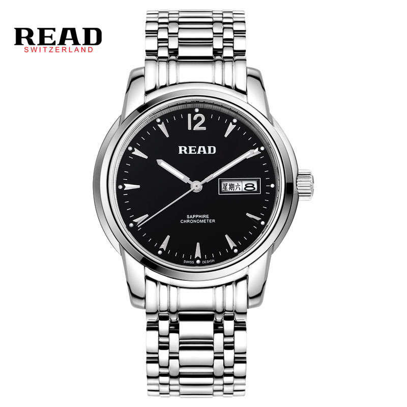READ 2017 sapphire luxury brand sapphire zegarek men watches week calendar full stainless steel 6001 black relogio masculino read brand tops automatic watches men minimalism luxury black watch men full steel relogio japan movement week and date 8082
