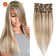 Remy  Brazilian Hair Clip In Extensions 120G Clip In Blonde 613 1BBlack Full Head Blonde Virgin Clip In/on Human Hair Extensions