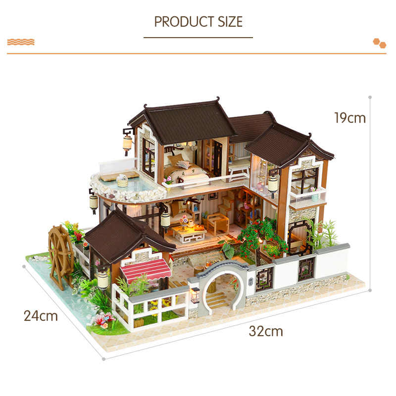 3D Wood House DIY Retro Yard Villa Building Dollhouse Miniature Doll House With Furniture Kits For Dolls Toys Birthday Gifts