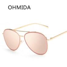 OHMIDA Piloto gafas de Sol Mujeres Hombres Diseñador de la Marca de Lujo Nueva Moda Espejo Lente gafas de Sol de Oro Del Metal de la Vendimia gafas de sol hombre