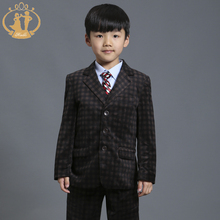 Nimble Brown Plaid Boys Blazer Kids For Weddings Party Tuxedos Formal Brand Two Pockets Gentleman Formal Toddler Boys Blazer