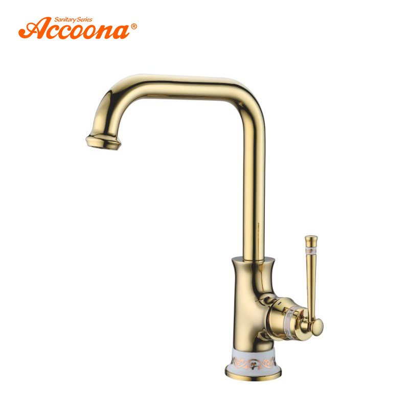 Accoona Kitchen Faucet Gold Sink Mixer Tap 360 Degree Rotation Kitchen Mixer Taps Kitchen Tap Golden Brass Body Faucet A44105W цена