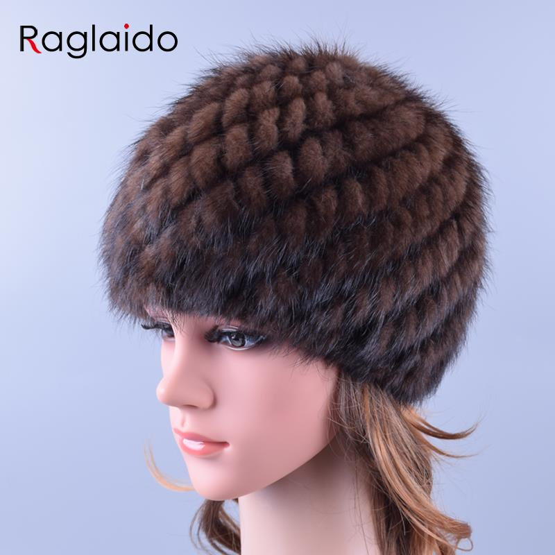 Raglaido Stickade Mink Fur Hattar för kvinnor Äkta Natural Fur Ananas Cap Winter Snow Beanie Mössor Russian Real Fur Hat LQ11191