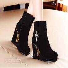 Platform Plus Velvet Adult Wedge High Heel Round Toe Knitted Antiskid Side Zip Rubber Euro Style Padded Women's Boots