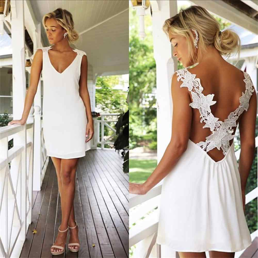 Стильное женское платье, летнее, v-образный вырез, открытая спина, кружево, вязание крючком, сплошной шифон, без рукавов, сексуальное пляжное мини-платье, цельное