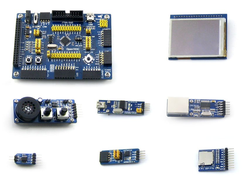 Parts Open103C Package A=STM32 Development Board Kit,STM32F103CBT6 STM32F103 ARM Cortex-M3+2.2inch 320x240 Touch LCD+7 modules module xilinx xc3s500e spartan 3e fpga development evaluation board lcd1602 lcd12864 12 module open3s500e package b