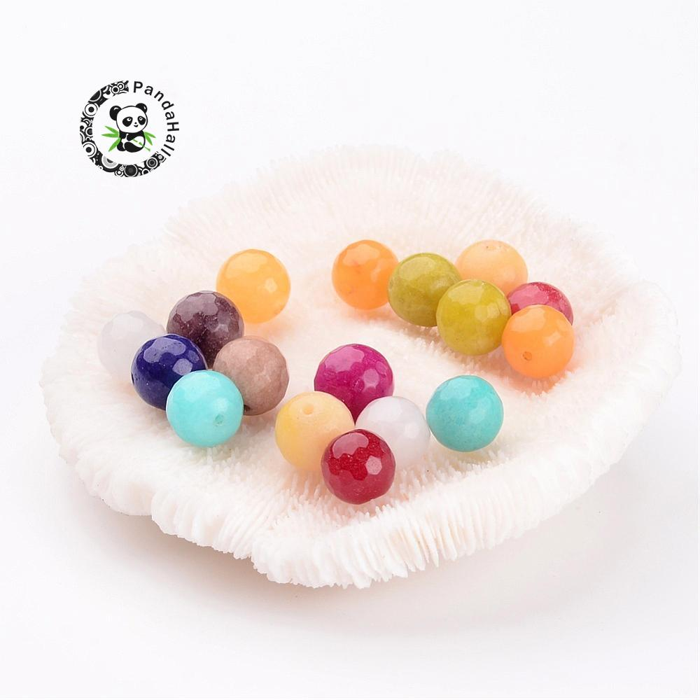 Natural Bead Strands, Dyed, Faceted, Round, Mixed Color, 10mm; Hole: 1mm